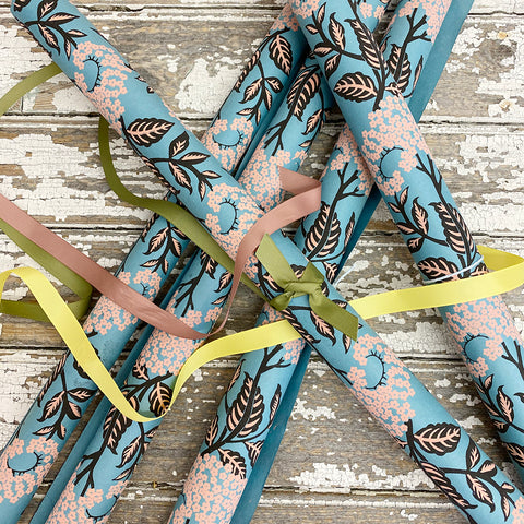 Bungalow Wrapping Paper Blue & Pink Flowers