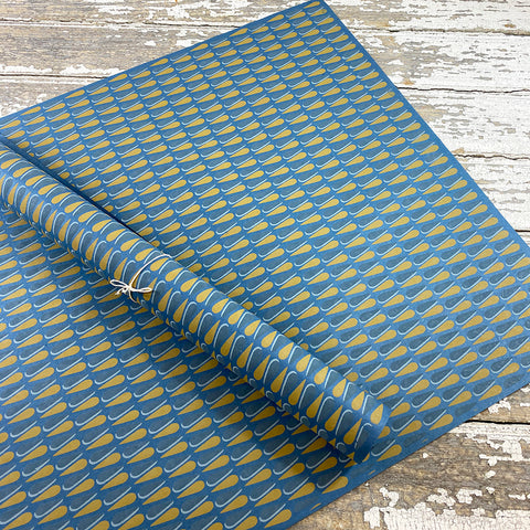 Bungalow Wrapping Paper Blue and Copper Teardrops