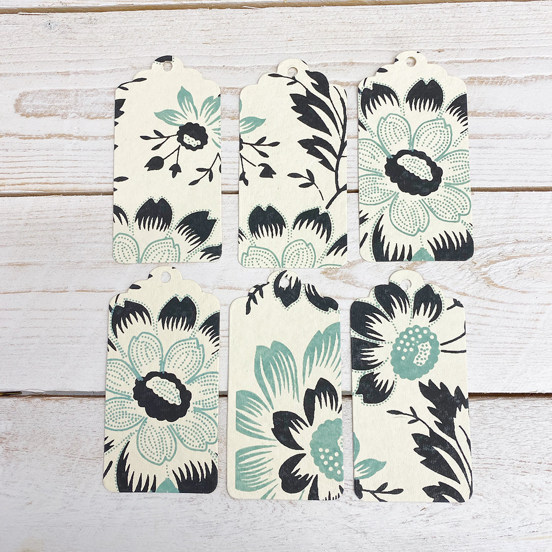 Handmade Gift Tags. Pale Green and Black Flowers.