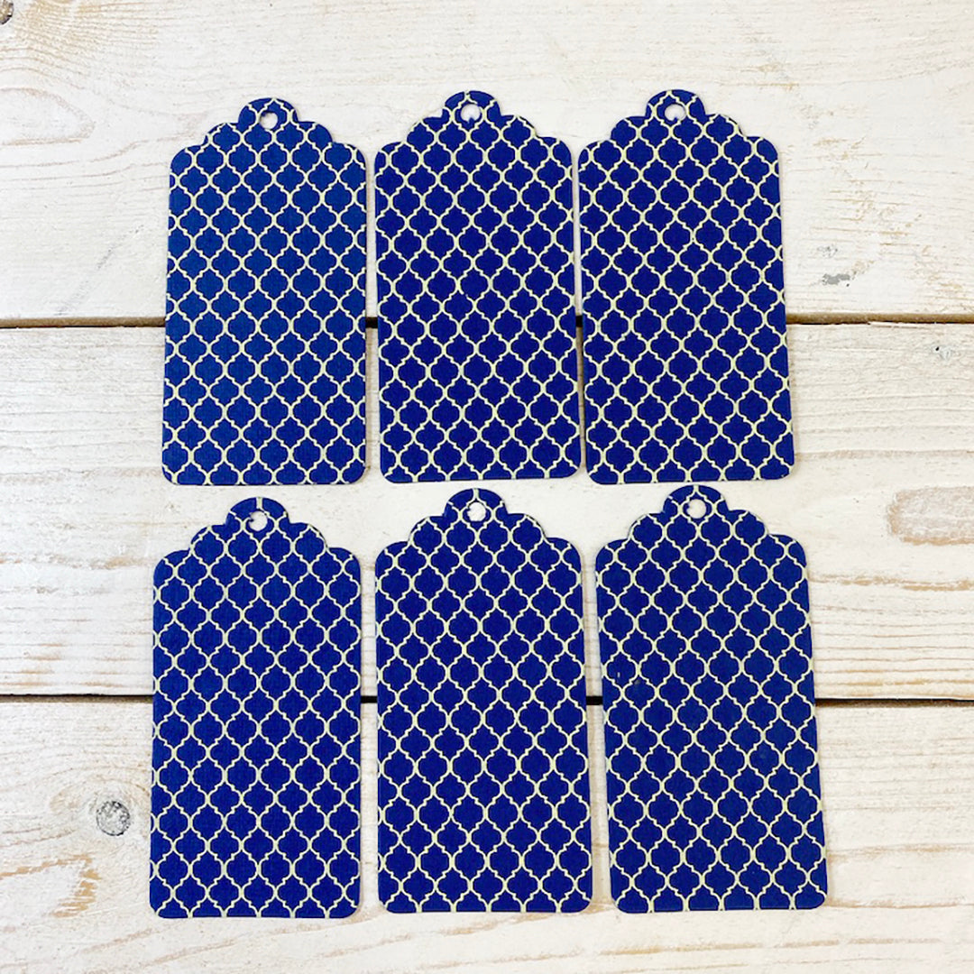 Handmade Gift Tags. Blue and Cream Motif.