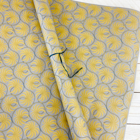 Bungalow Wrapping Paper. Gold and Grey Palm.