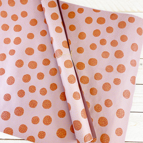 Bungalow Wrapping Paper. Pink Dots.