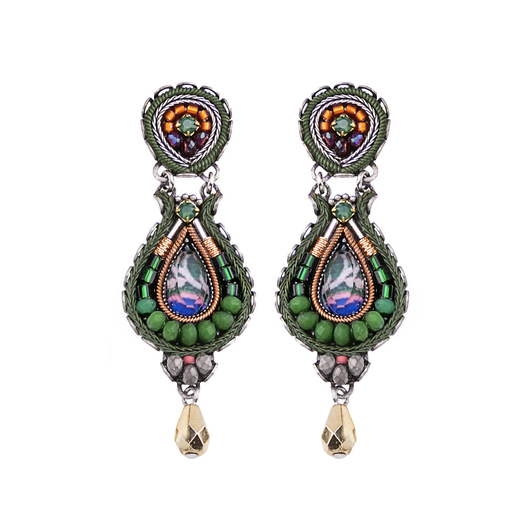 Decorative Green, Copper and Blue Slim Jewel Drop Earrings by Ayala Bar