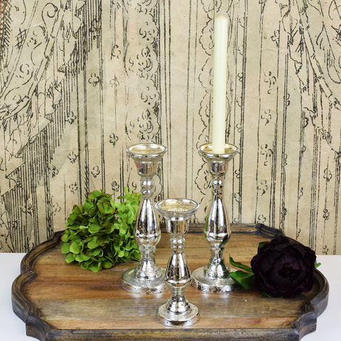 Antiqued Silver Glass Candle Sticks