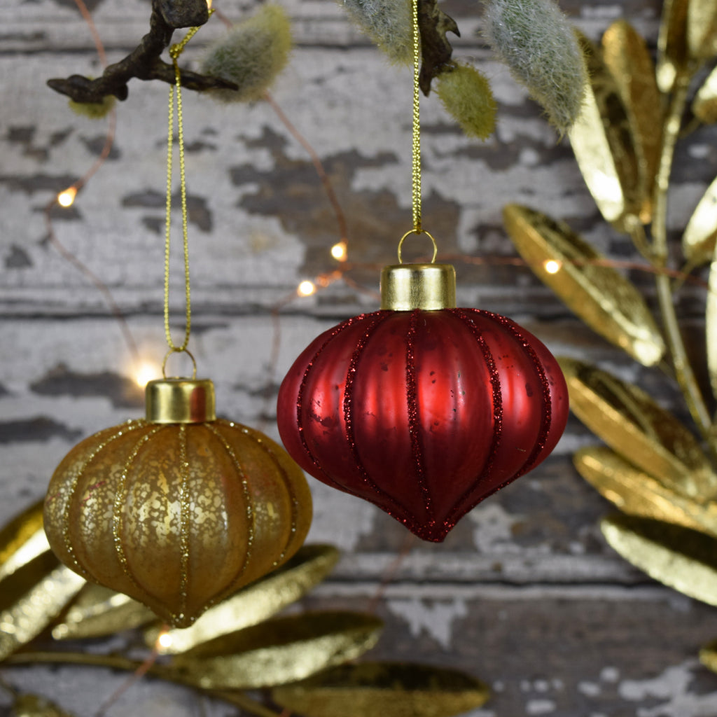 Pine Drop Christmas Bauble. Vintage Red.