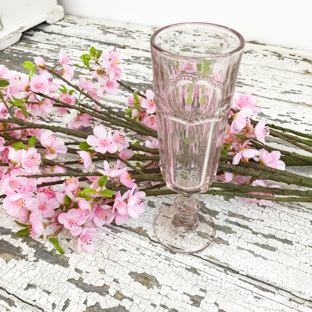 Dusty Rose Vintage Champagne Glasses. Set of Six.