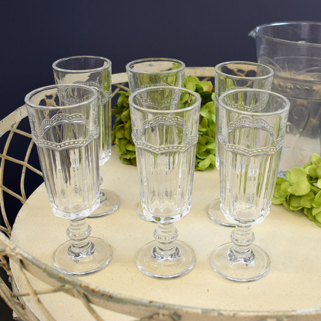 Vintage Champagne Glasses. Set of Six.