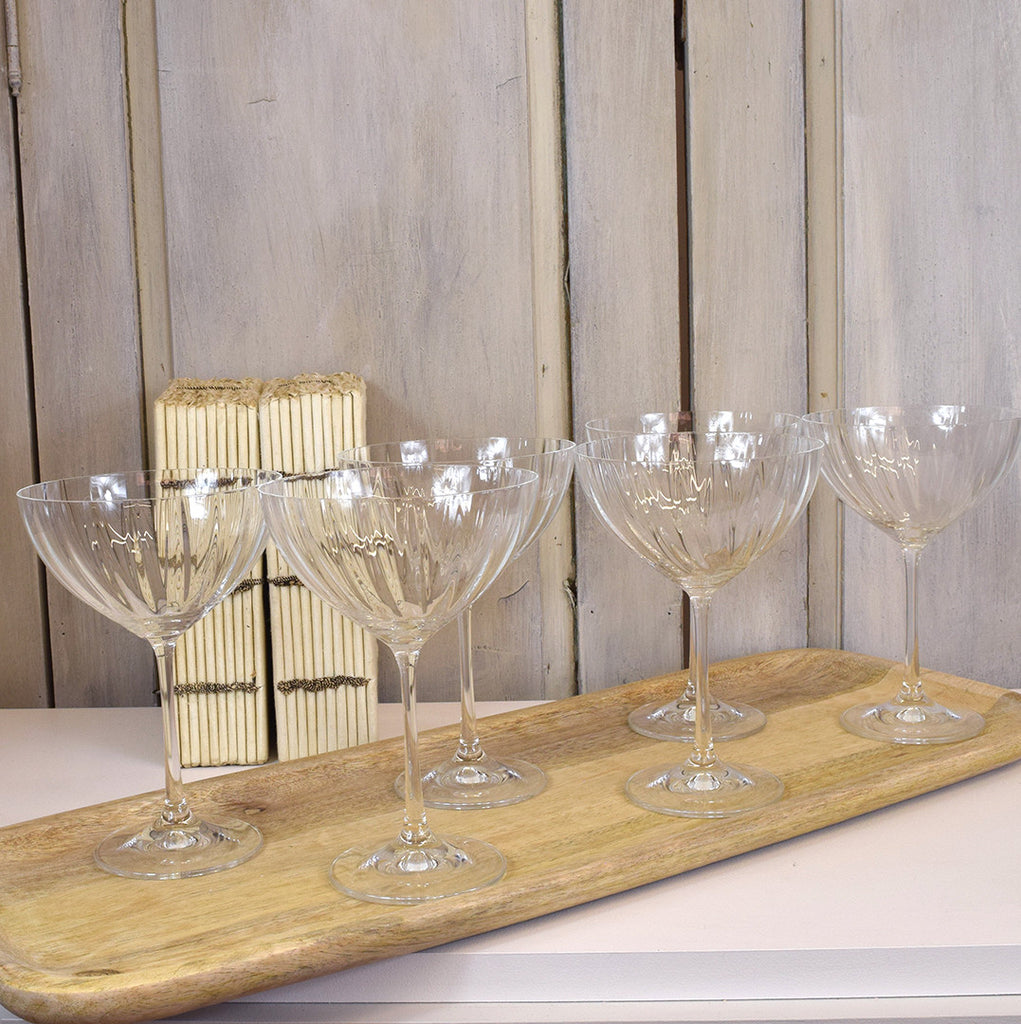 Champagne Coupe Glasses. Set of Six.