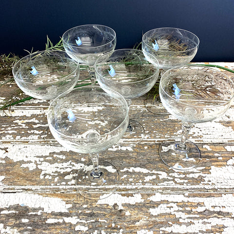 Champagne Saucers With Etched Pattern