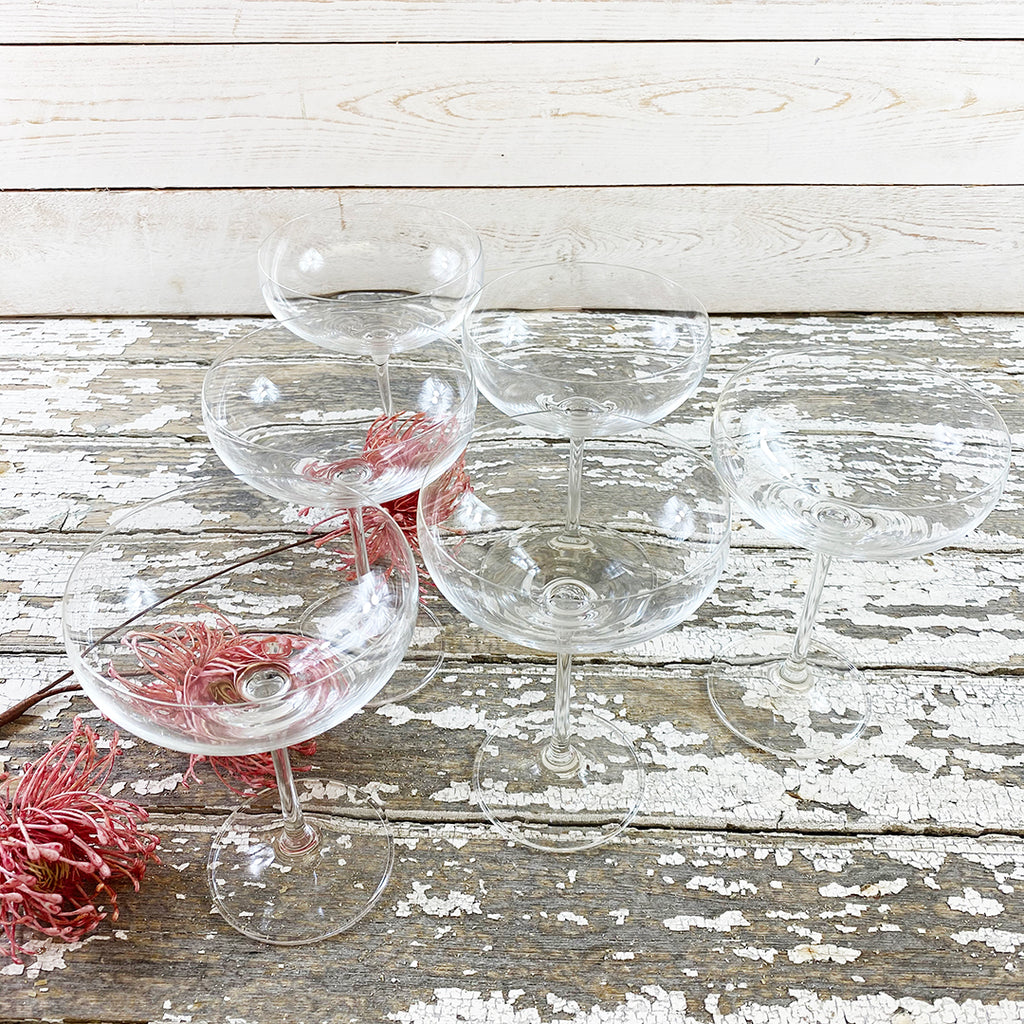 Champagne Saucers, Set of 6.