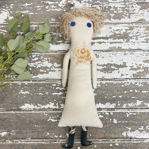 Cloth Doll with Woolly Hair