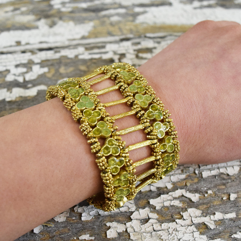 Gold and Taupe Clover Bracelet.
