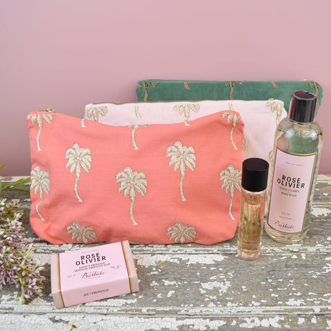 Elizabeth Scarlett Palm Trees Travel Pouch. Coral.