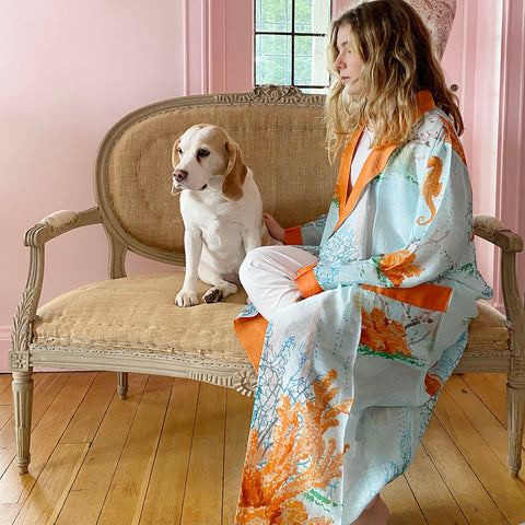 One Hundred Stars Coral Dressing Gown.