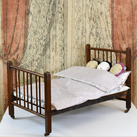 Vintage Doll Bed with New Duvet Set.