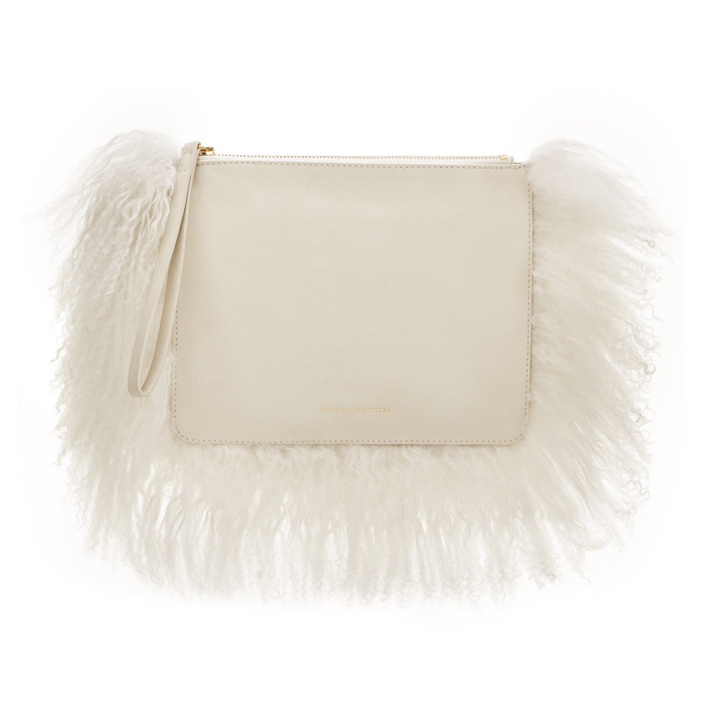 Italian Leather Cloud Bag. Cream.