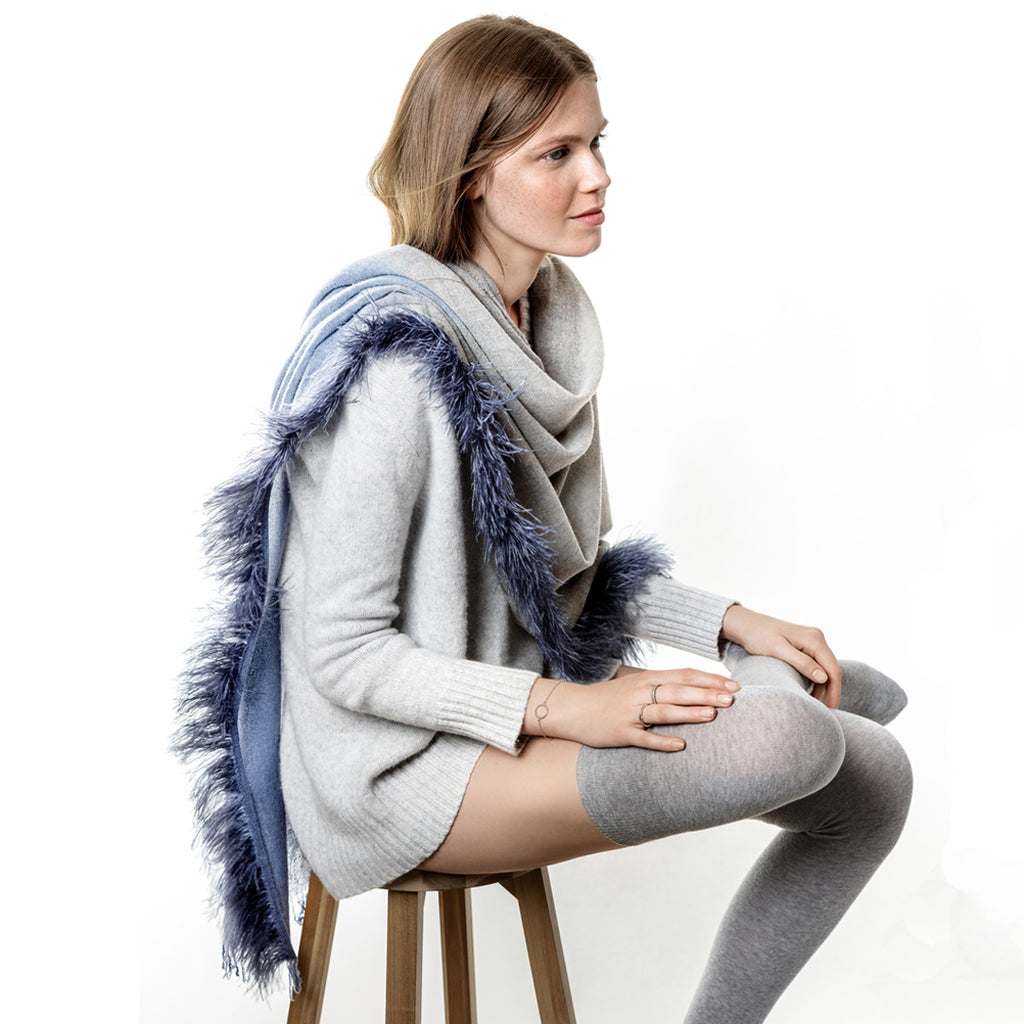Feneun Virgin Wool and Cashmere Scarf with Ostrich Feather Trim. Steel Blue.
