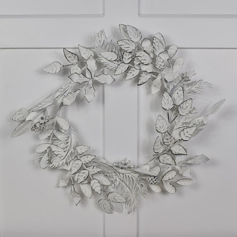 Antique Effect White Leaf Wreath