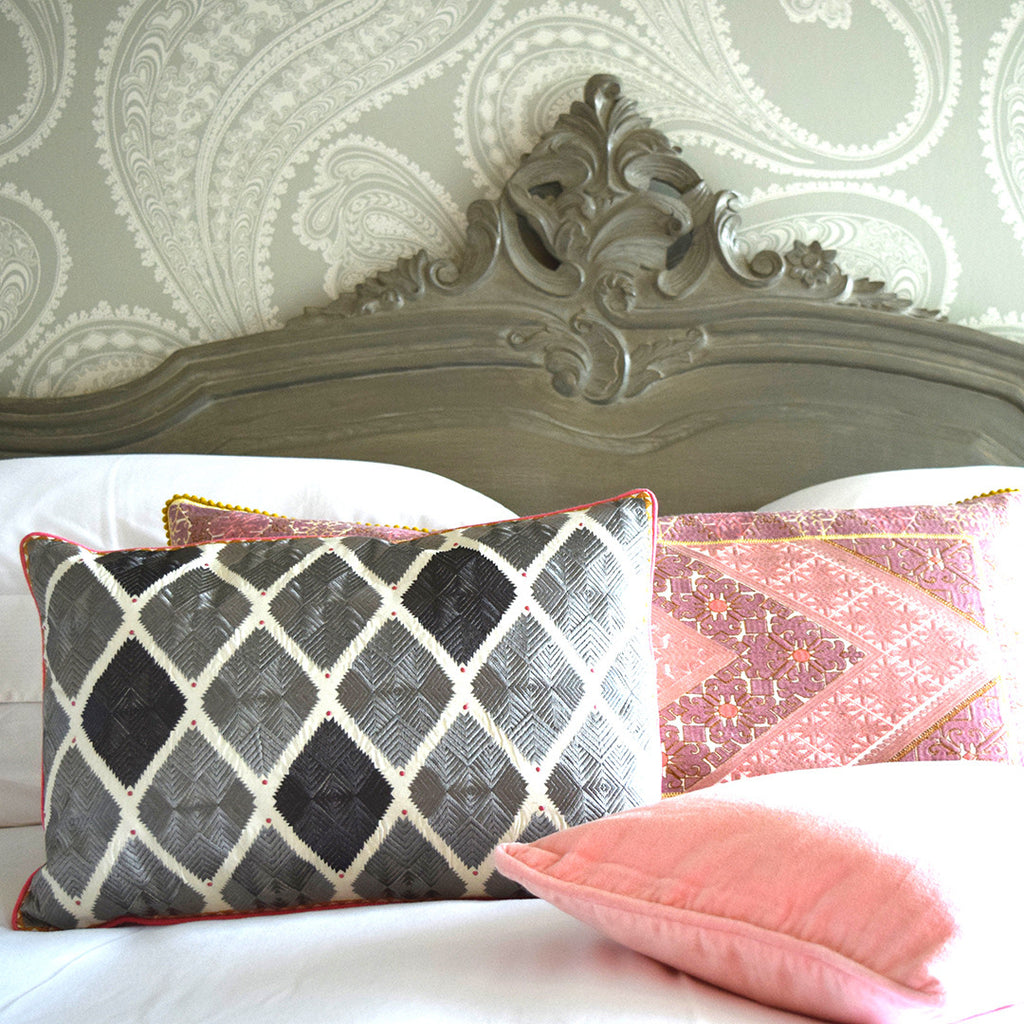 Embroidered Diamond Cushion. Grey with Pink Piping.