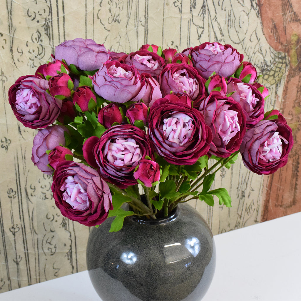 Silk-Ka Artificial Flowers: Pink Ranunculus Spray