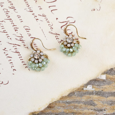 Parkside Swarovski Crystal Green Cherry Earrings.