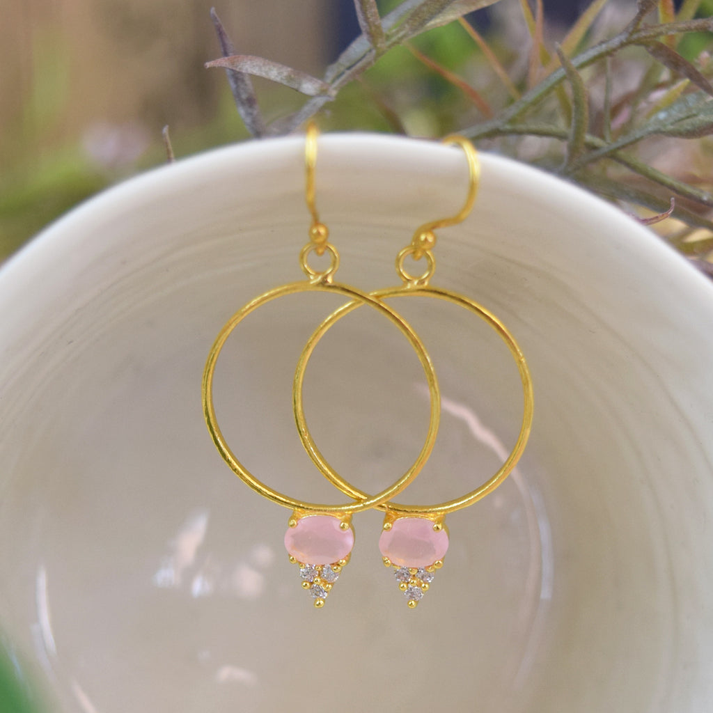 Pink Quartz Rosa Gold Hoop Earrings.