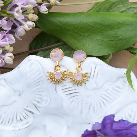 Pink Chalcedony Half Sun Stud Earrings.