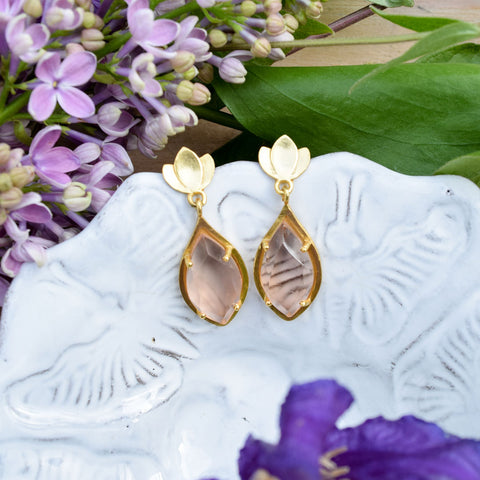 Pink Champagne Quartz Tulip Earrings.