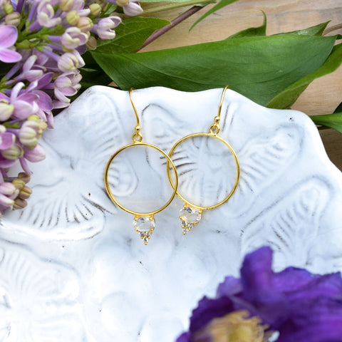 Crystal Quartz Gold Hoop Earrings.