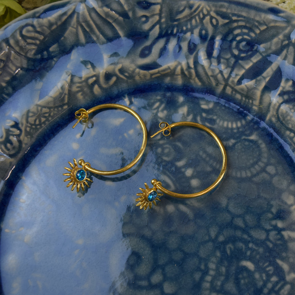 Chunky Half Sun Hoop Earrings. Blue Topaz.