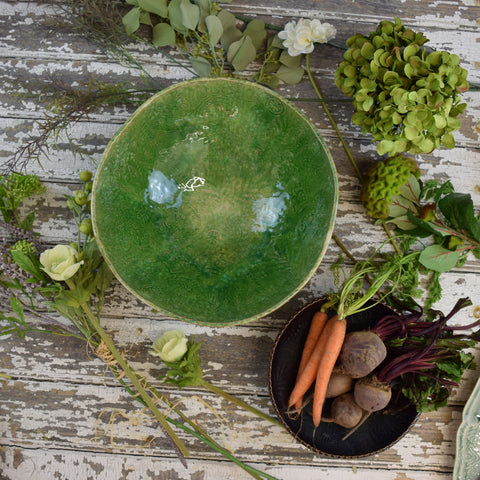 Large Crackle Glaze Serving Bowl. Seaweed Green.