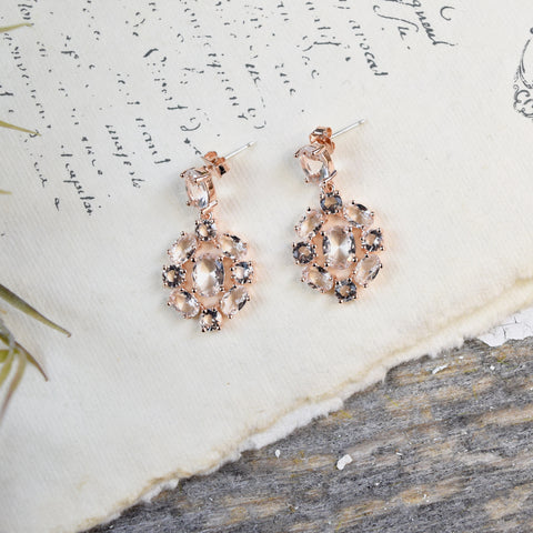 Parkside Rose Gold Crystal Drop Earrings.