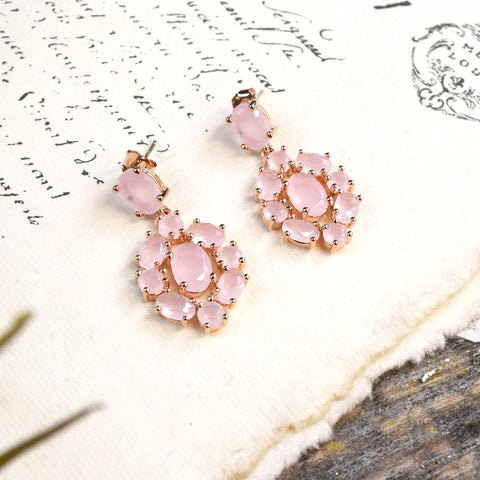 Parkside Rose Gold Pink Opal Drop Earrings