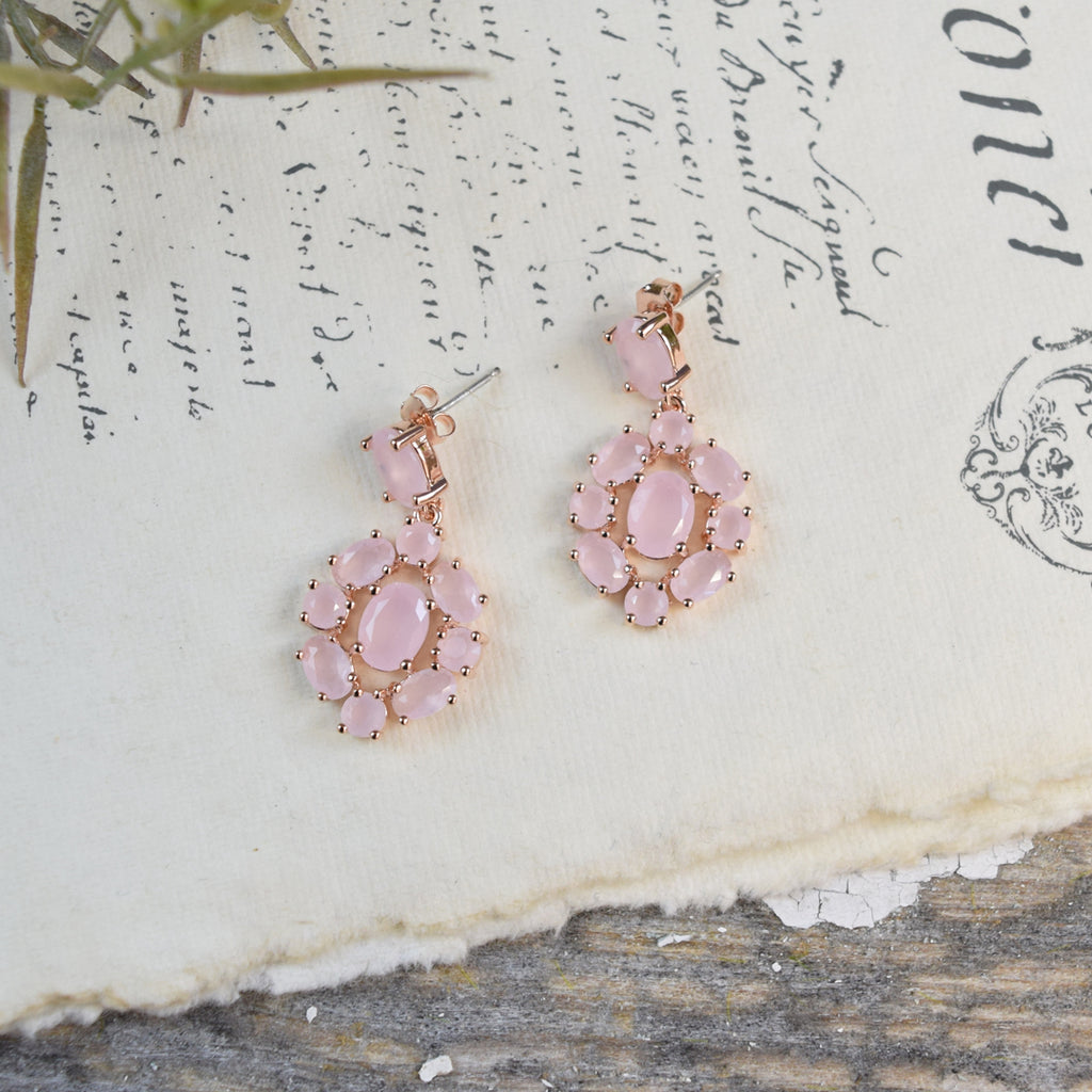 Parkside Rose Gold Pink Opal Drop Earrings.