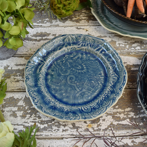 Crackle Glaze Side Plate. Ocean Blue.