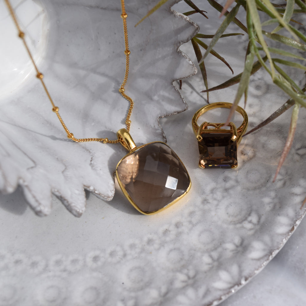 Square Smokey Topaz Pendant Necklace
