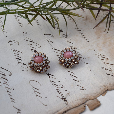 Parkside Swarovski Crystal Pink Stud Earrings