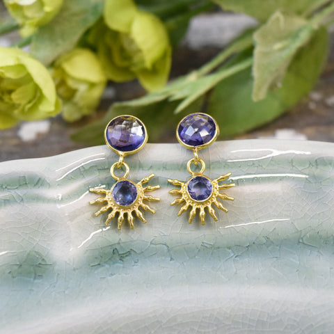 Blue Lolite Half Sun Stud Earrings.