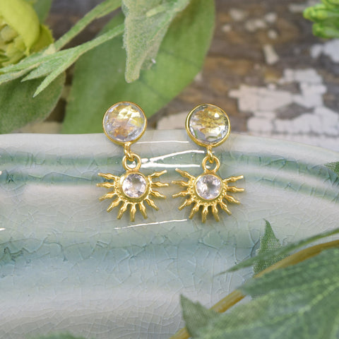 Clear Crystal Quartz Half Sun Stud Earrings.