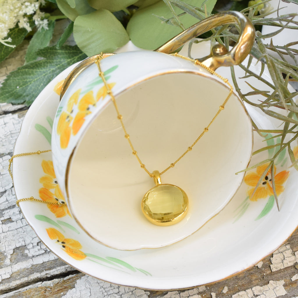 Round Lemon Topaz Pendant Necklace