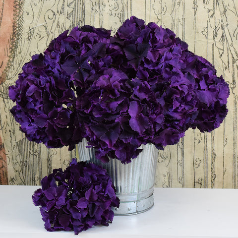 Silk-Ka Faux Flowers: Deep Purple Hydrangea Spray.