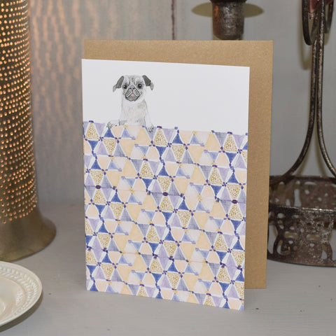 Handmade Greetings Card. Pug.