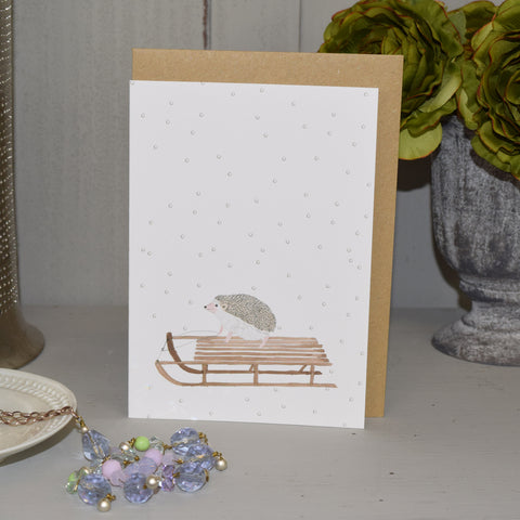 Handmade Christmas Card. Sleigh Ride Hedgehog.