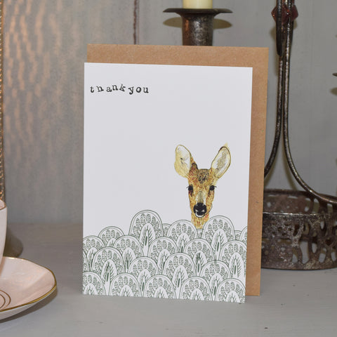 Handmade Thank You Card. Deer.