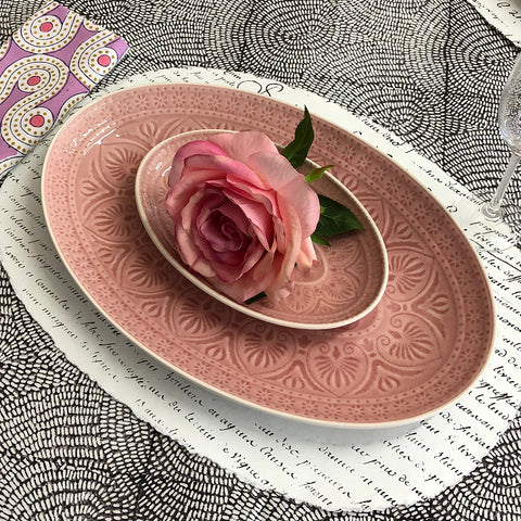Pink Patterned Crackle Glaze Oval Dish.