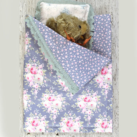 Dolls sleeping bag and pillow blue floral