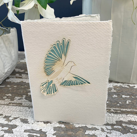 Handmade Eco Laser Cut Card, Dove.