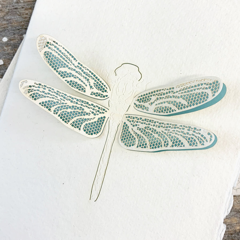 Handmade Eco Laser Cut Card, Dragonfly.