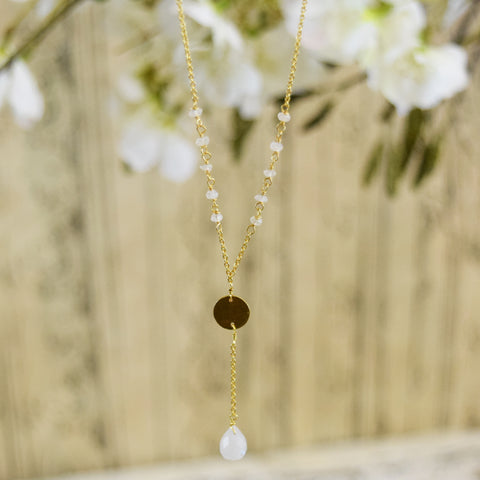 Gold Plated Silver Droplet Necklace.