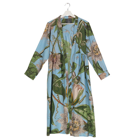 One Hundred KEW Passion Flower SKY Blue Duster Coat.